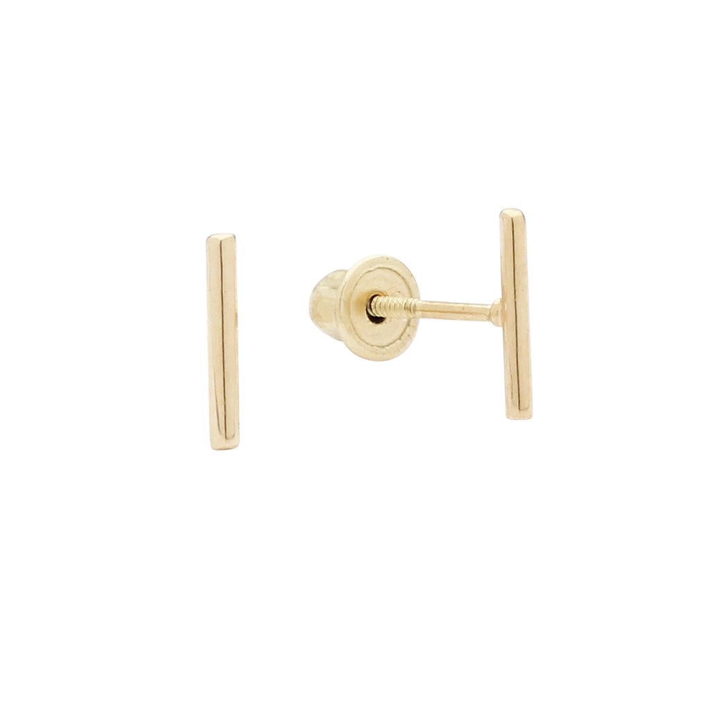 10k Solid Gold Tiny Bar Studs