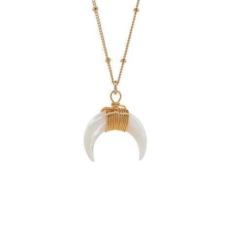 Large Crescent Moon with Single CZ Necklace
