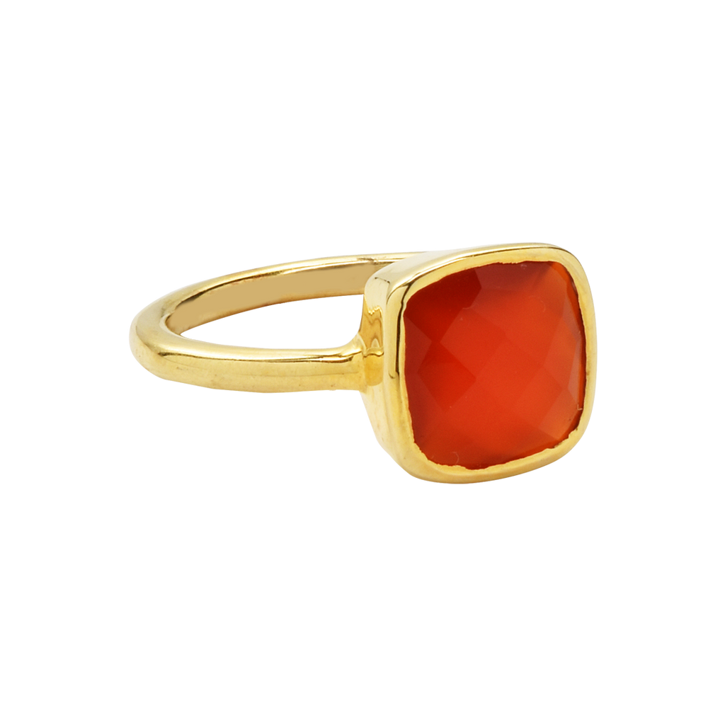 SALE - Small Carnelian Square Gold Bezel Ring