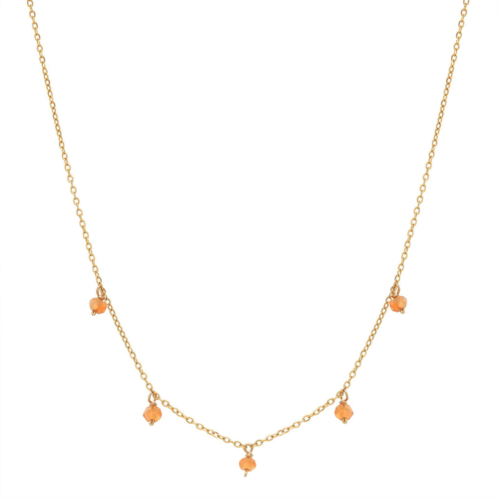 5 Tiny Carnelian Stone Drop Necklace