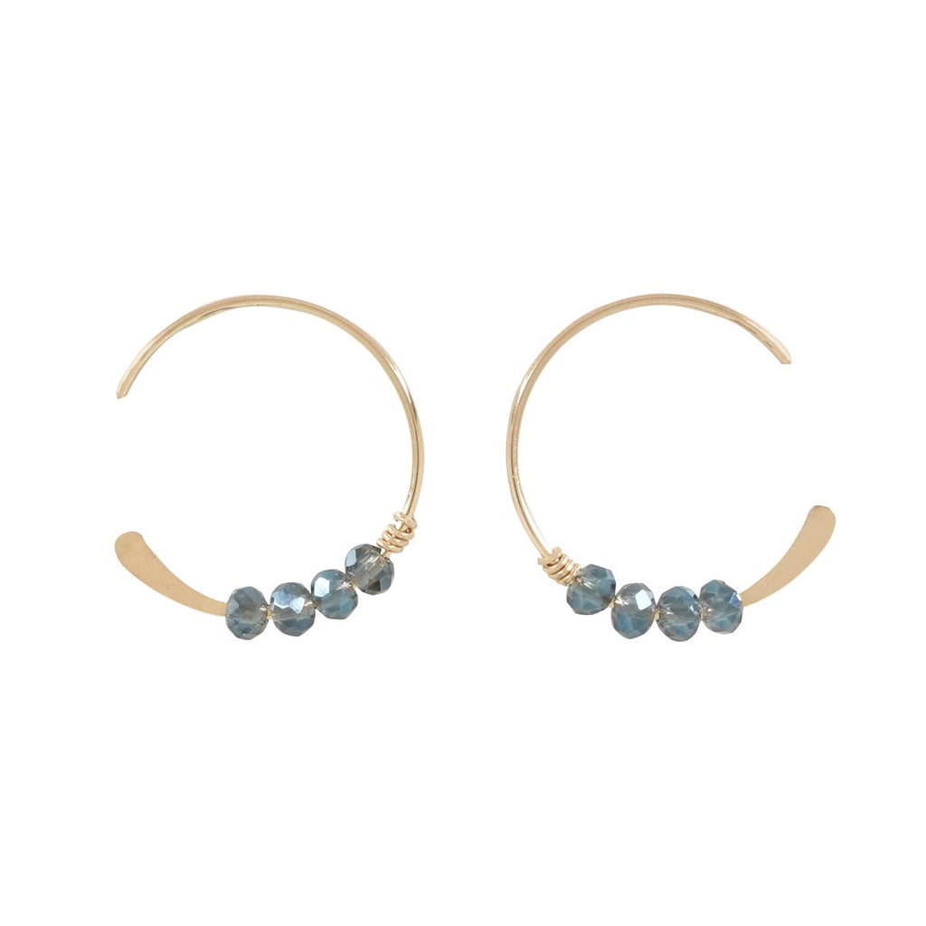 SALE - 18mm Clear Blue Stone Hammered End Hoops