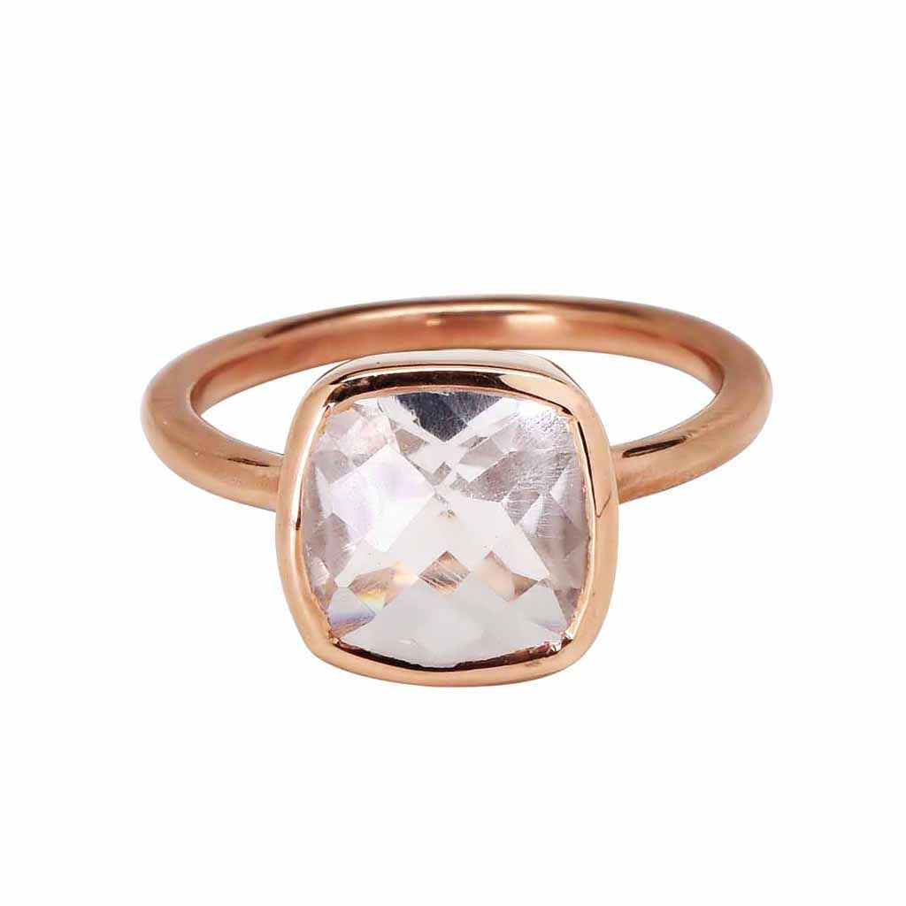 SALE - Small Clear Quartz Square Rose Gold Bezel Ring