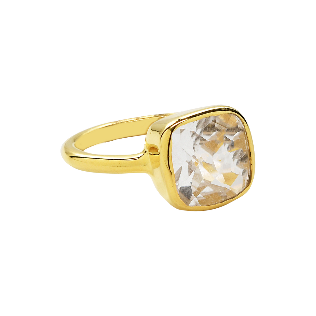 SALE - Small Clear Quartz Square Gold Bezel Ring