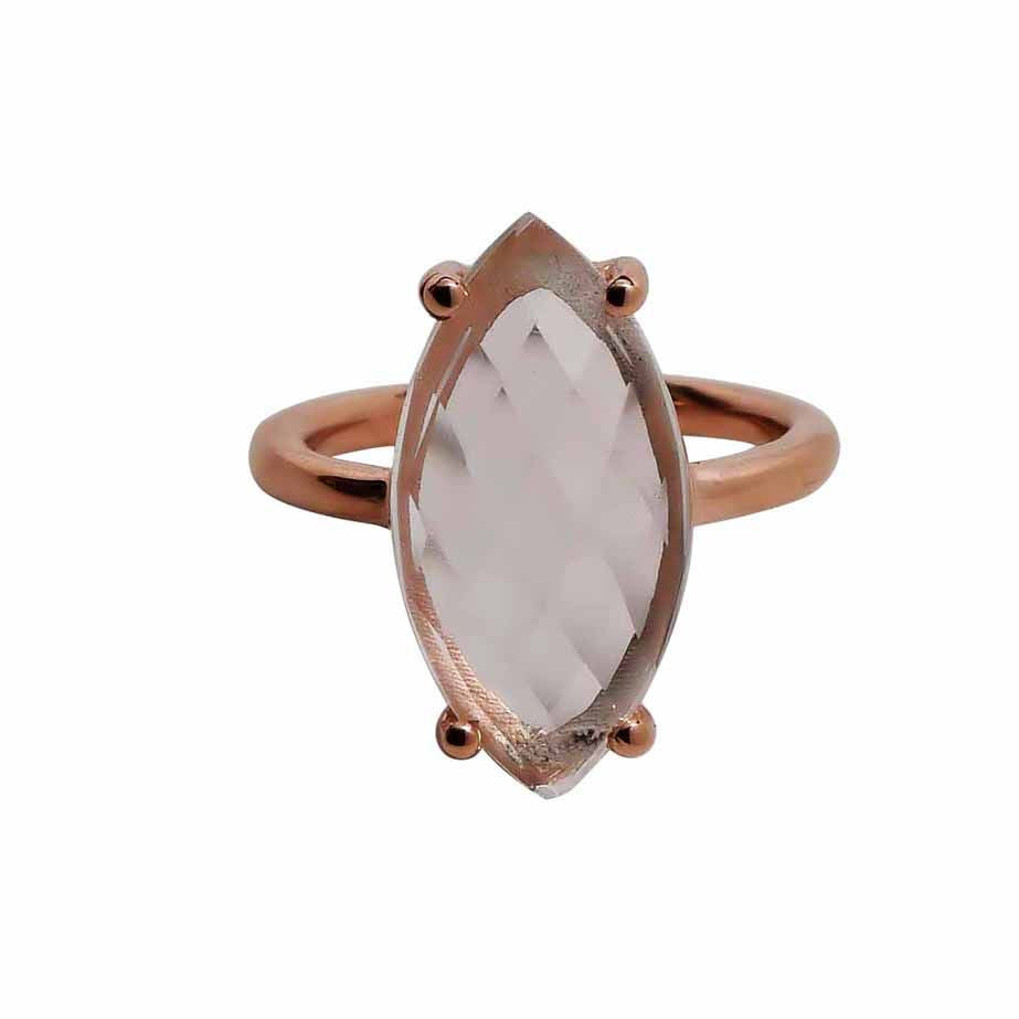SALE - Clear Quartz Marquise Rose Gold Bezel Ring