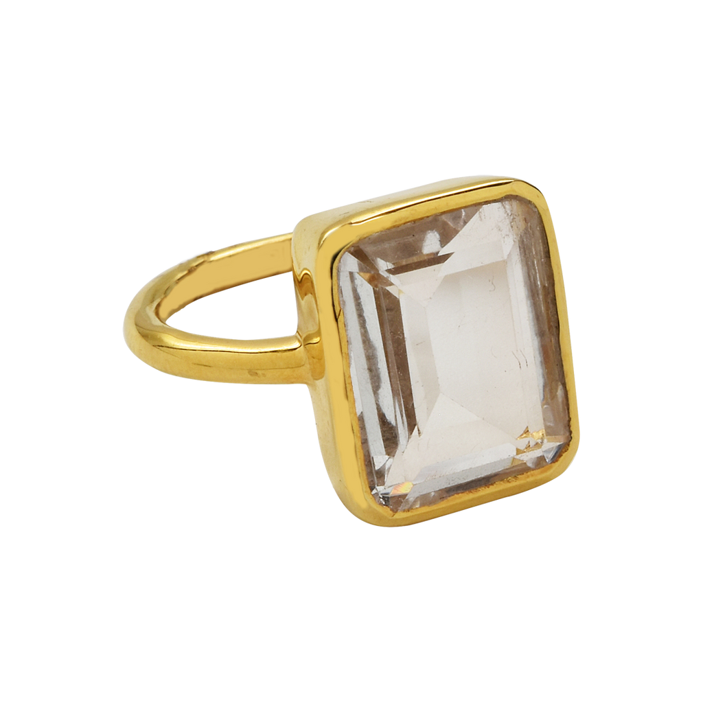 SALE - Large Clear Quartz Baguette Gold Bezel Ring