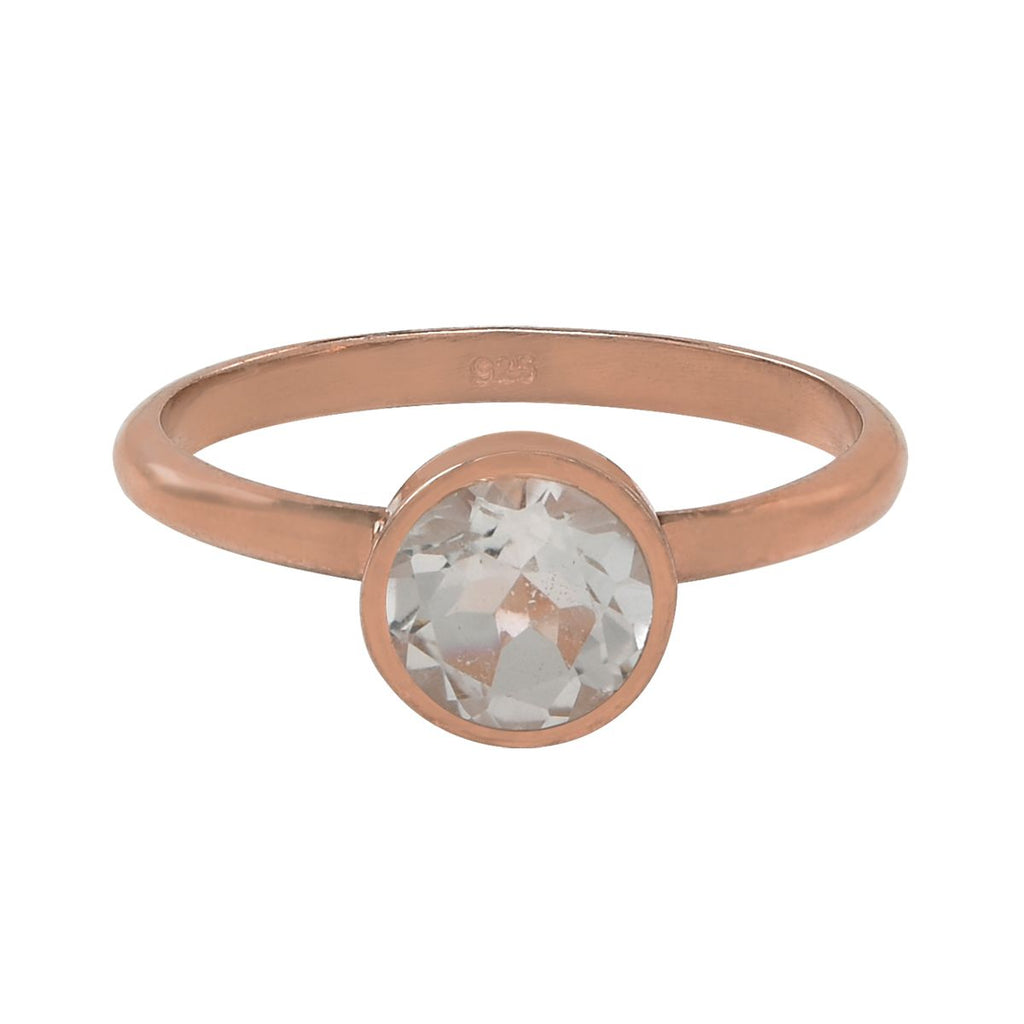 SALE - Round Clear Quartz Rose Gold Bezel Ring
