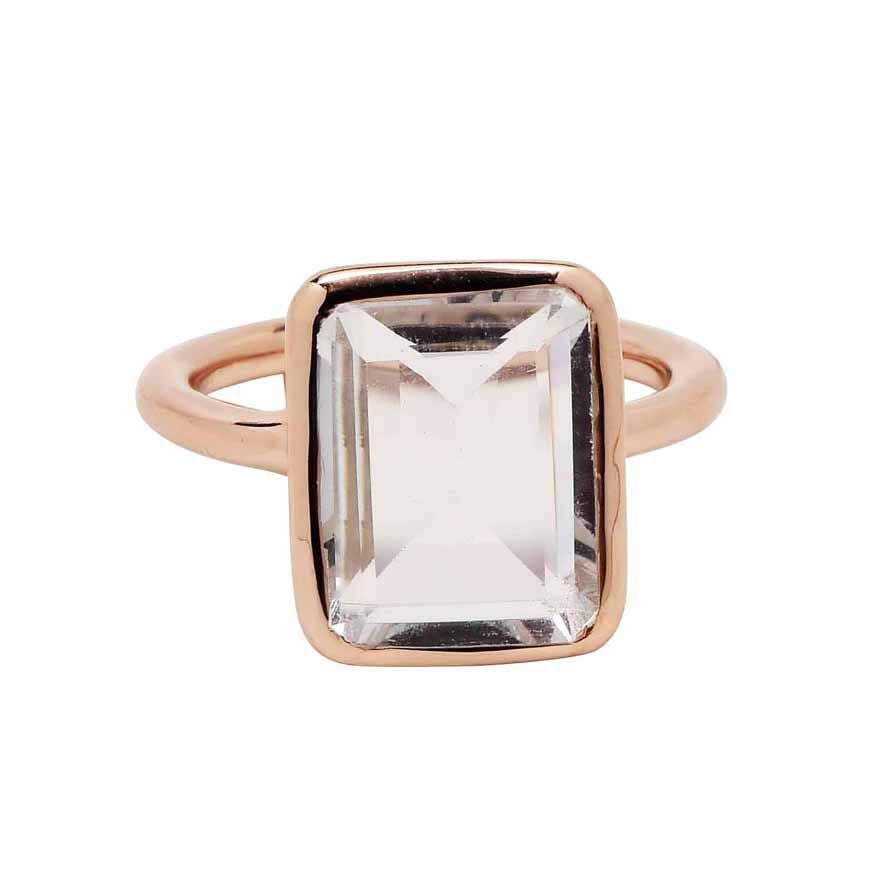 SALE - Large Clear Quartz Baguette Rose Gold Bezel Ring