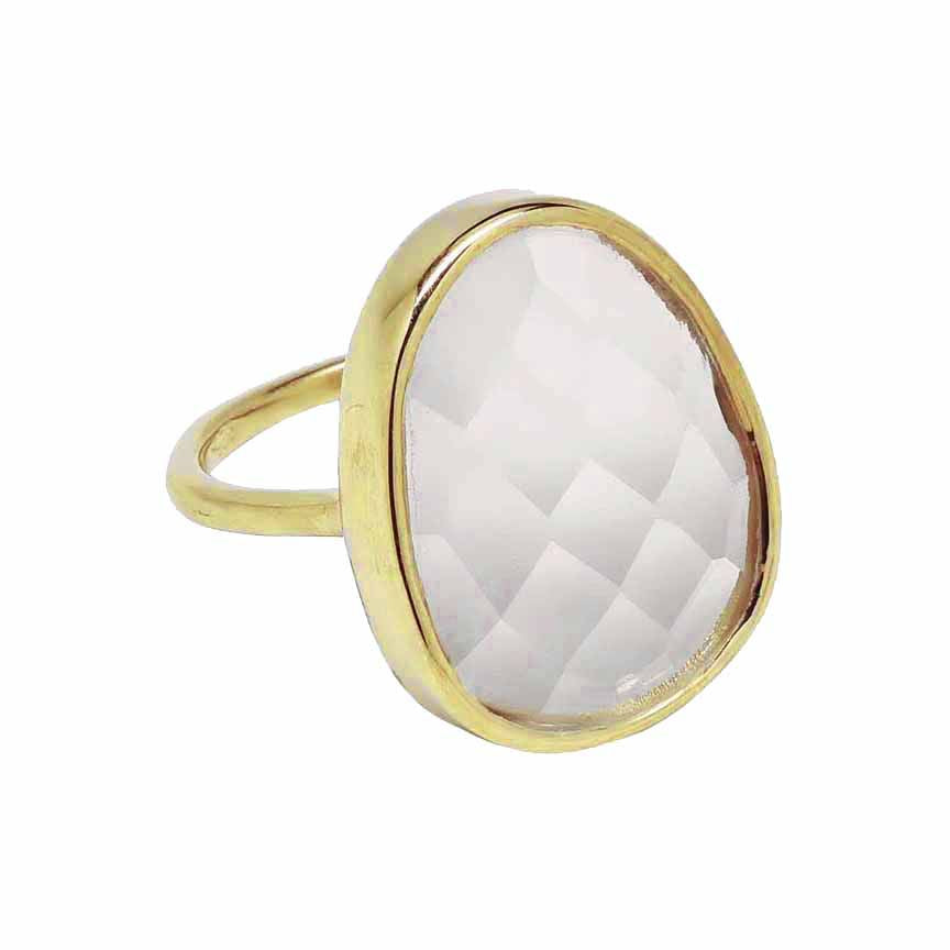 SALE - LARGE CLEAR QUARTZ OVAL GOLD BEZEL RING