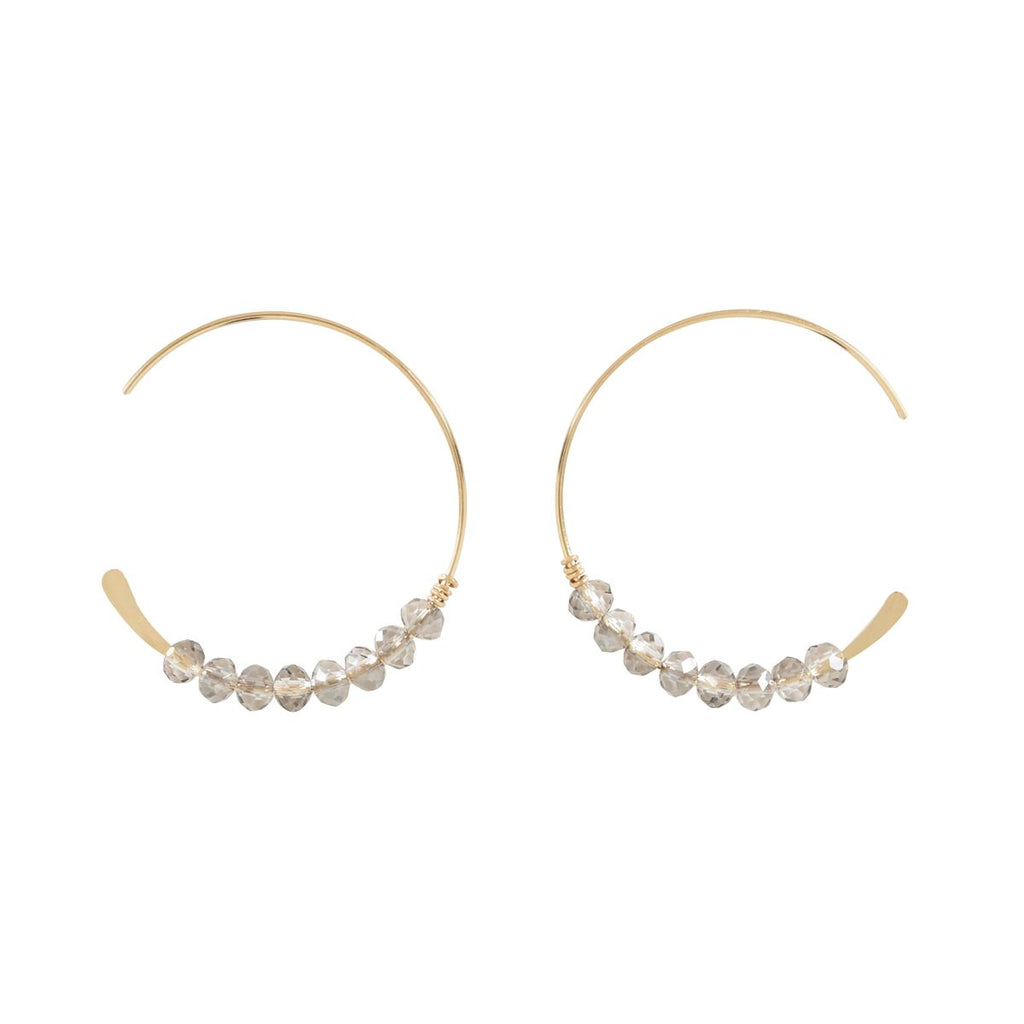 SALE - 26mm Clear Stone Hammered End Hoops