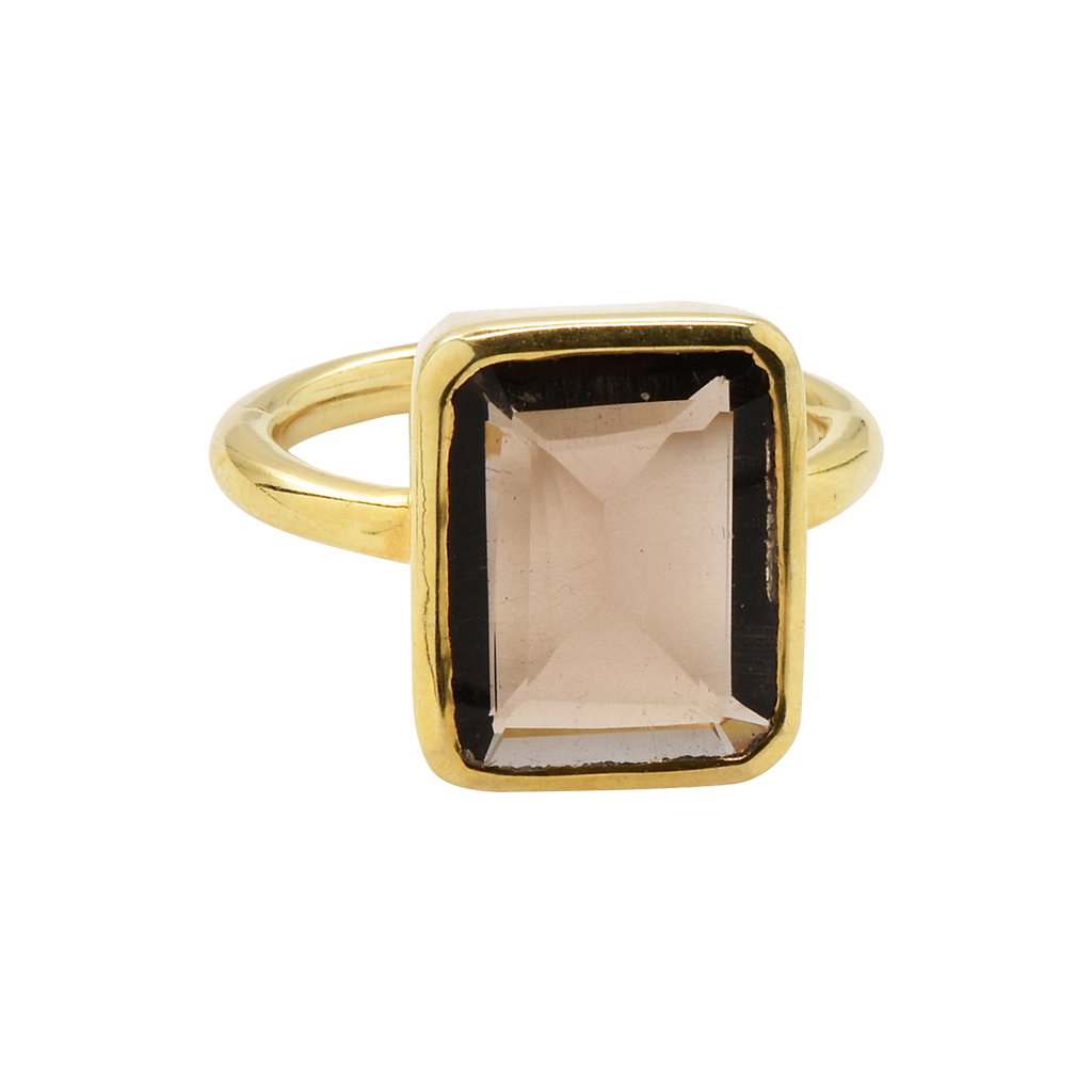 SALE - Large Smoky Quartz Baguette Gold Bezel Ring