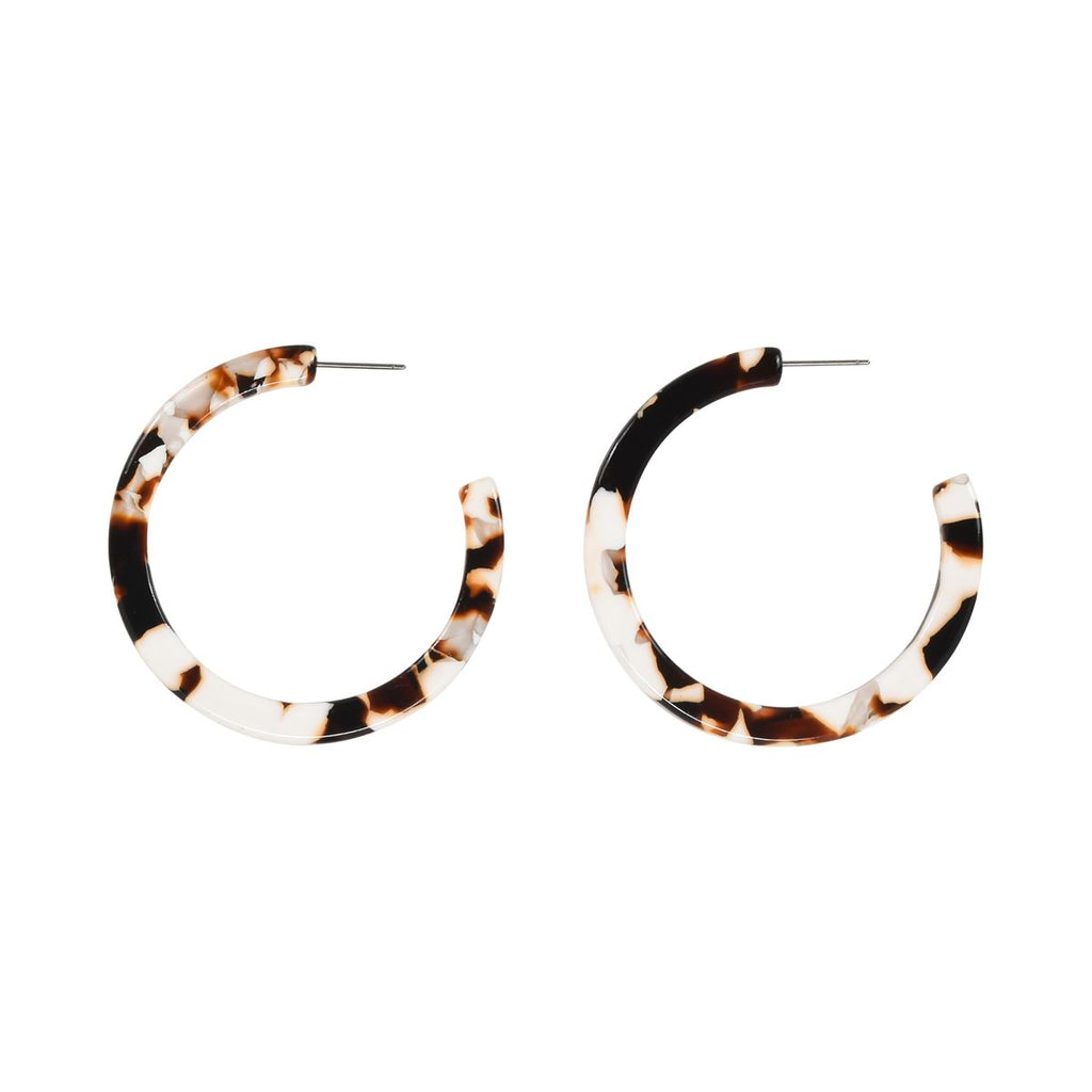 SALE - Coffee + Cream Lucite Hoops
