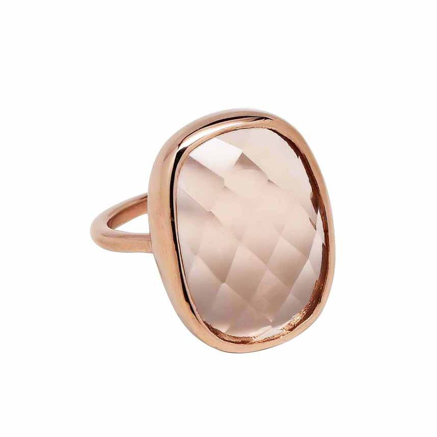 SALE - Large Morganite Oval Rose Gold Bezel Ring