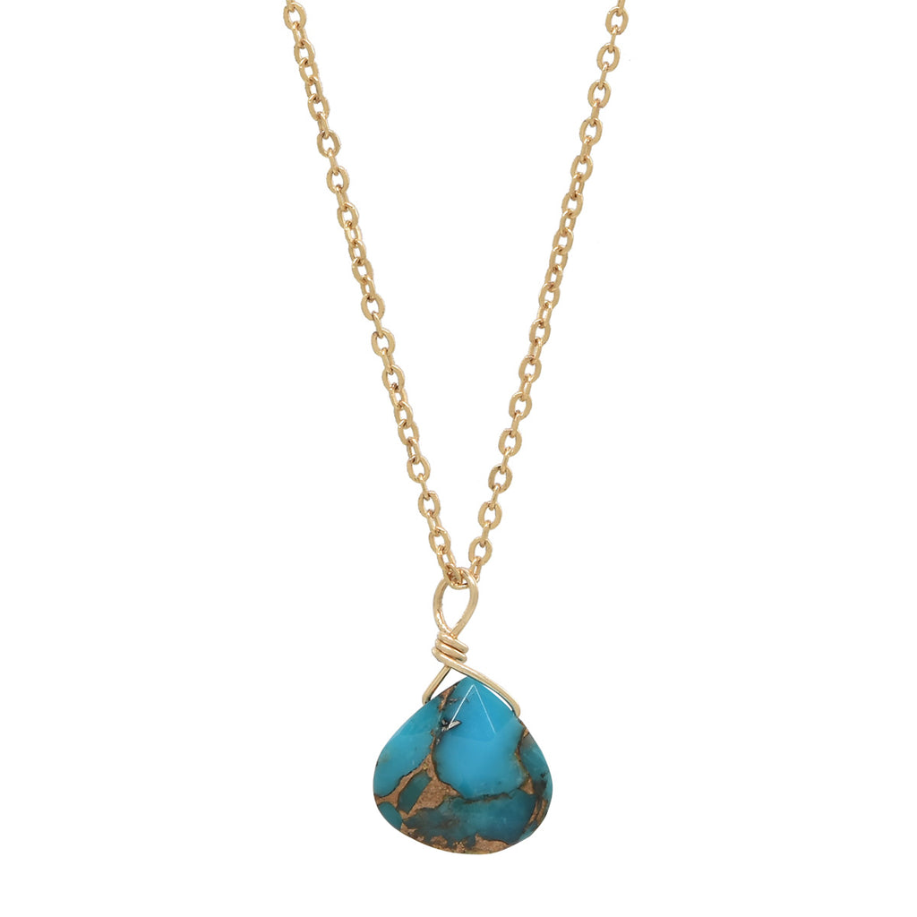 SALE - Tiny Mojave Turquoise Teardrop Necklace