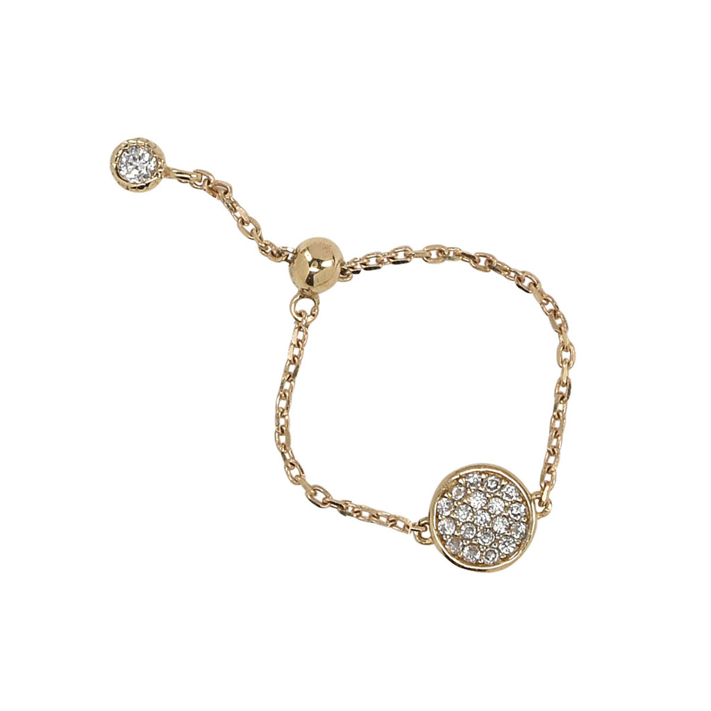 SALE - Solid Gold CZ Pave Adjustable Chain Link Ring