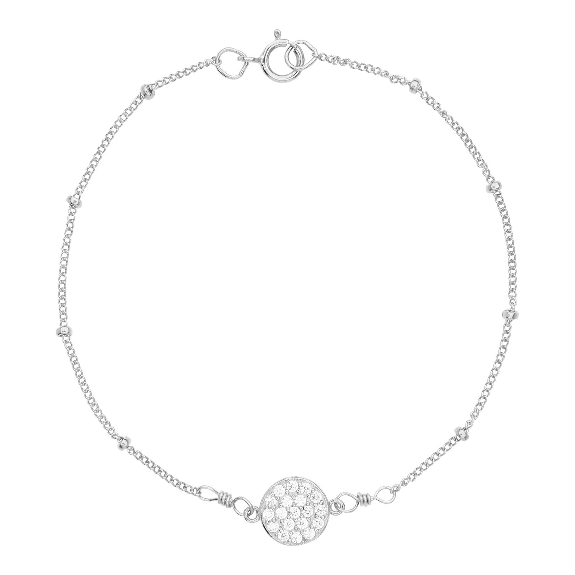 Multi-CZ Round Ball Chain Bracelet