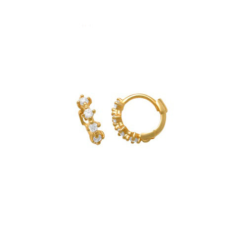 10k Solid Gold Prong CZ Huggie