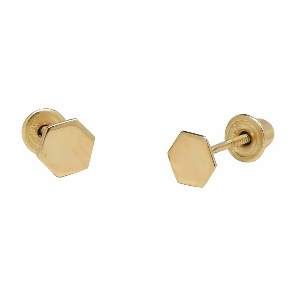 10k Solid Gold Tiny Hexagon Studs