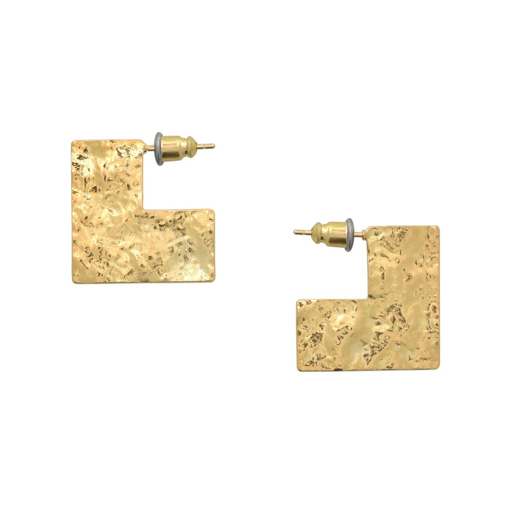 SALE - Hammered Flat Square Studs