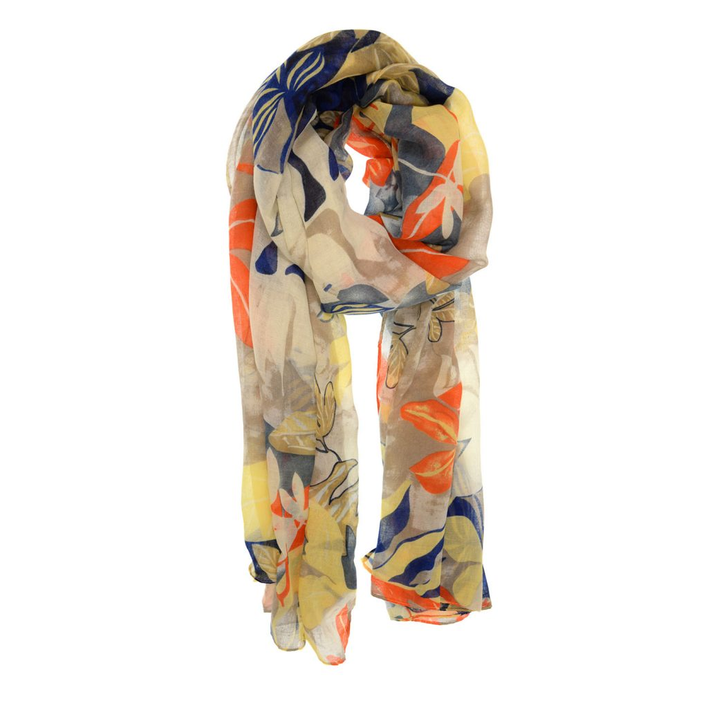 Yellow Navy Tropical Fauna Scarf