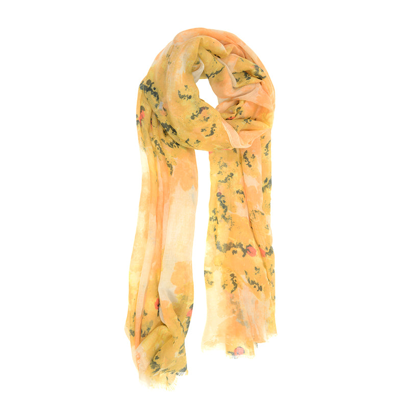 Golden Dry Brush Floral Scarf