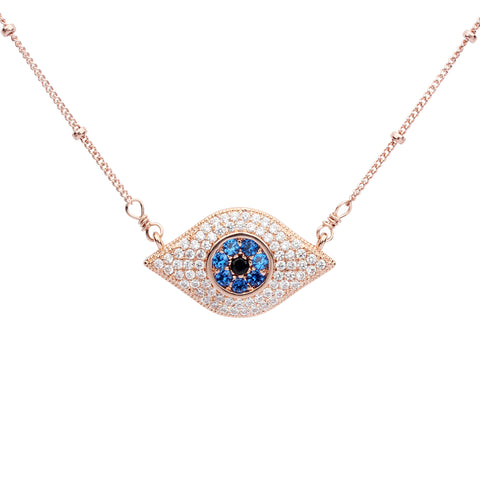 Large Colored and CZ Evil Eye Necklace