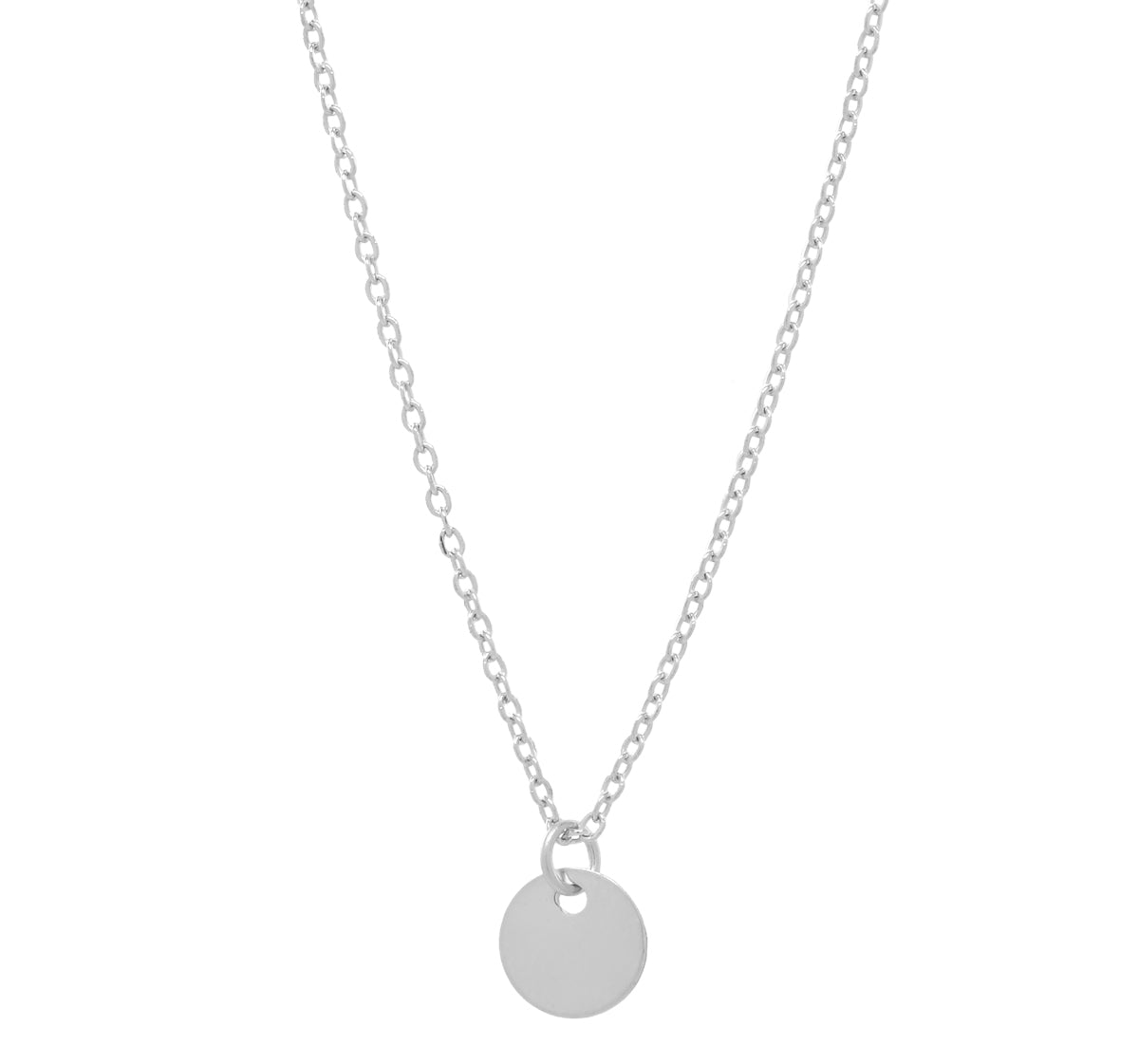 Solid Gold Tiny Disc on Thin Chain Necklace