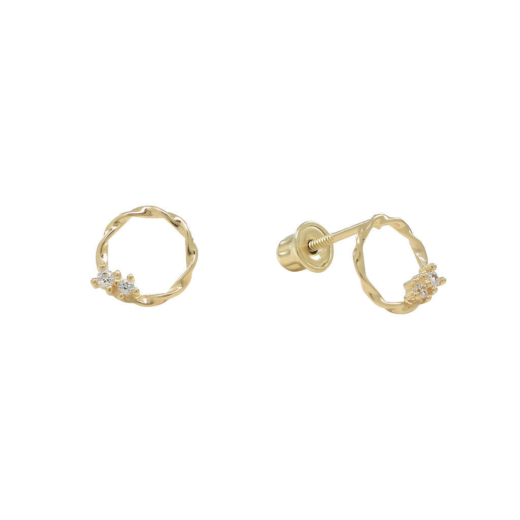 10k Solid Gold CZ Twisted Circle Studs