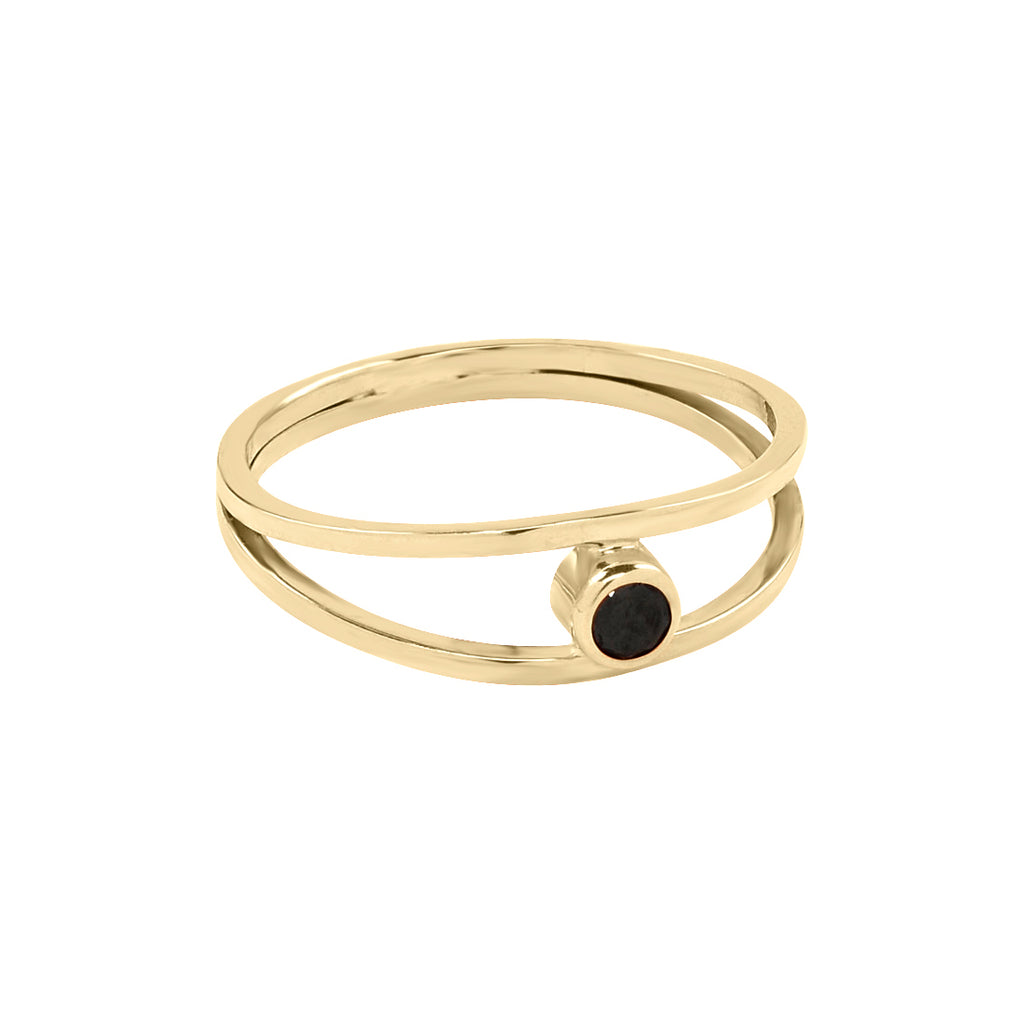 SALE - 14k Solid Gold Double Band & Black Diamond Ring