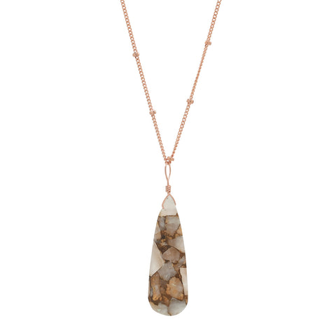 Copper Calcite Teardrop Necklace