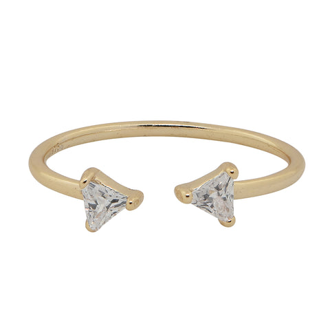 SALE - CZ Double Triangle Open Band Ring