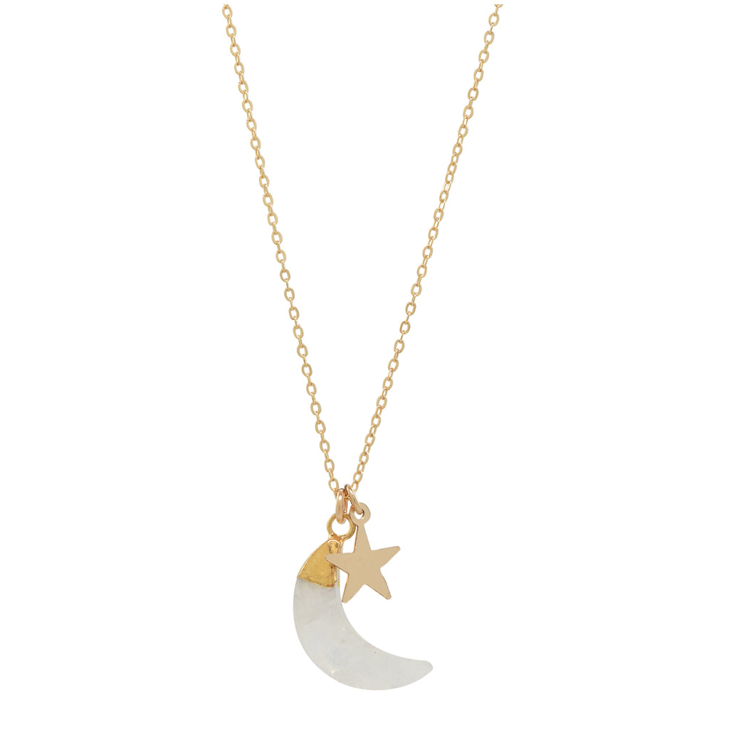SALE - Moon Stone / Star Necklace