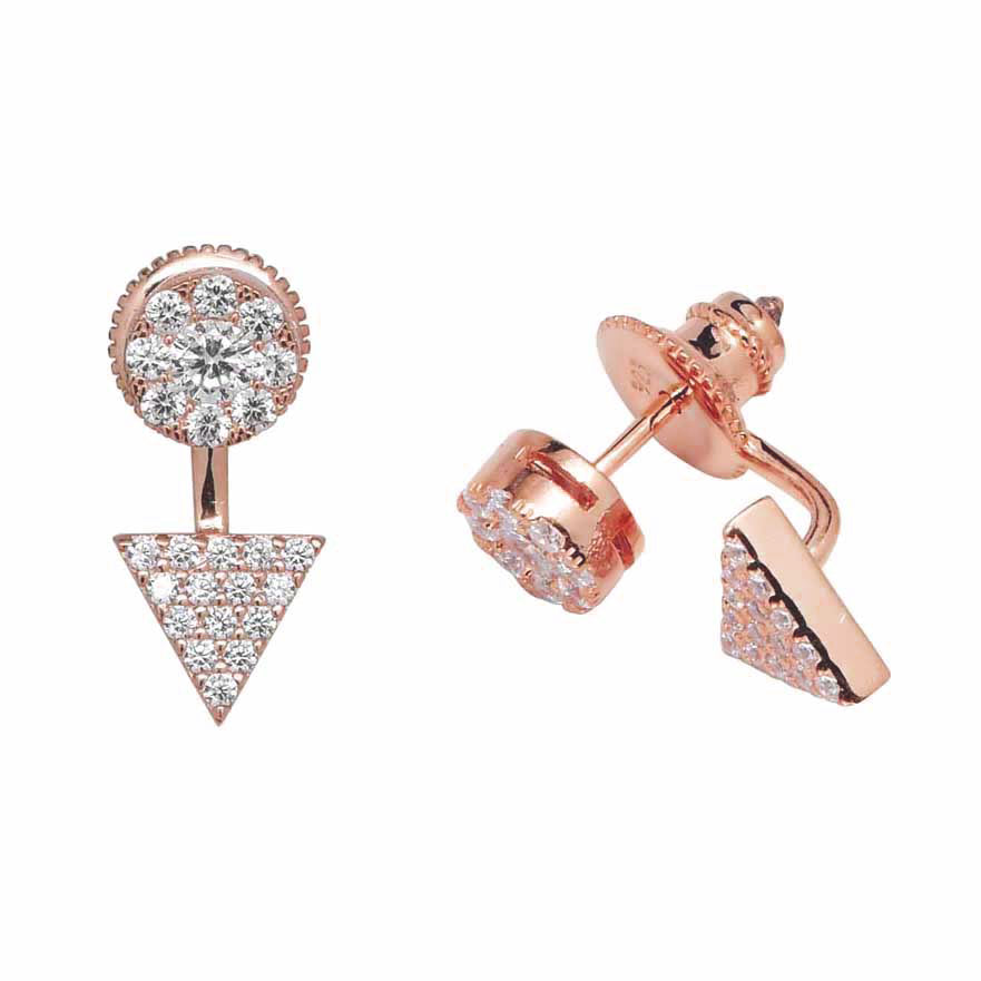 Circle and Triangle CZ Ear Jacket