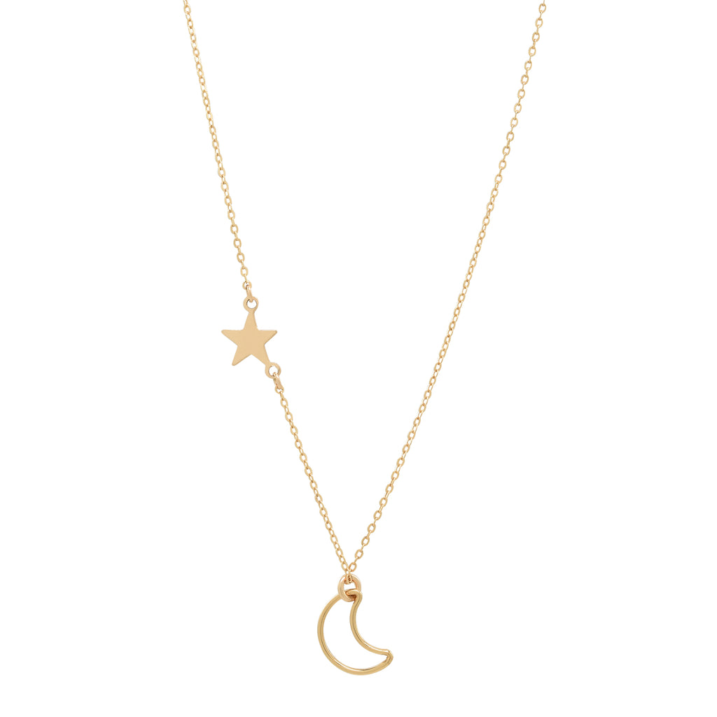 Moon Outline & Star Necklace