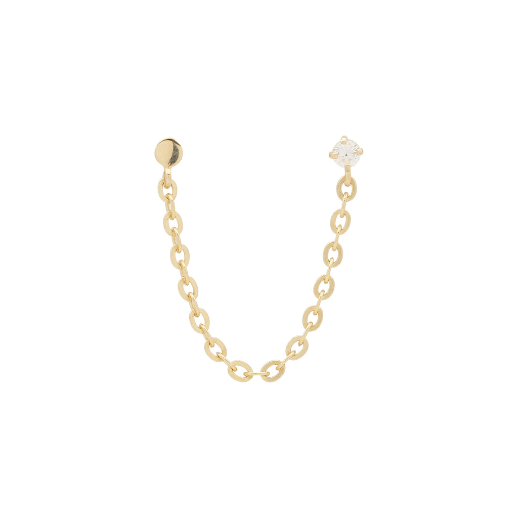 10k Solid Gold CZ Single Chain Stud