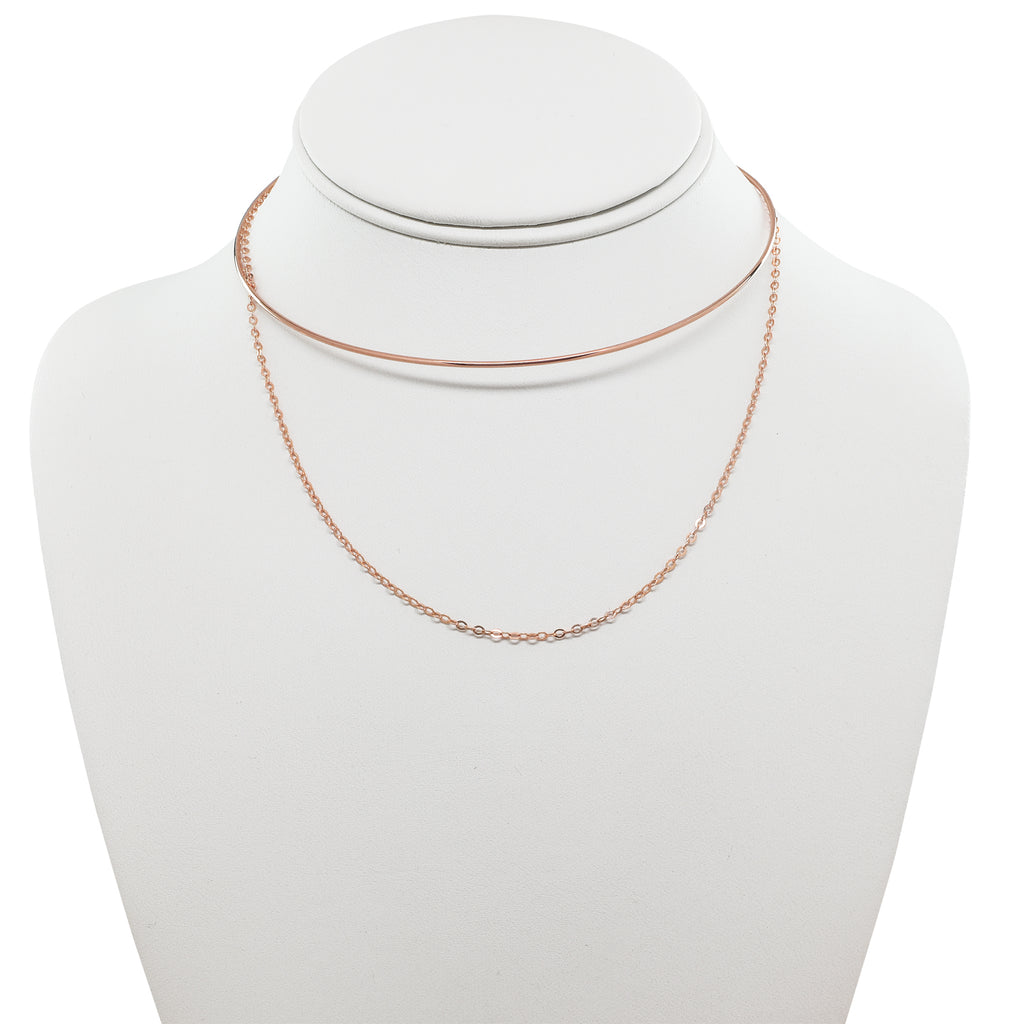 "SALE - Wire Choker with 15"" Chain Necklace"