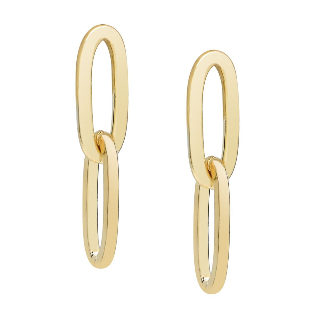 Thick Double Paper Clip Studs in Gold