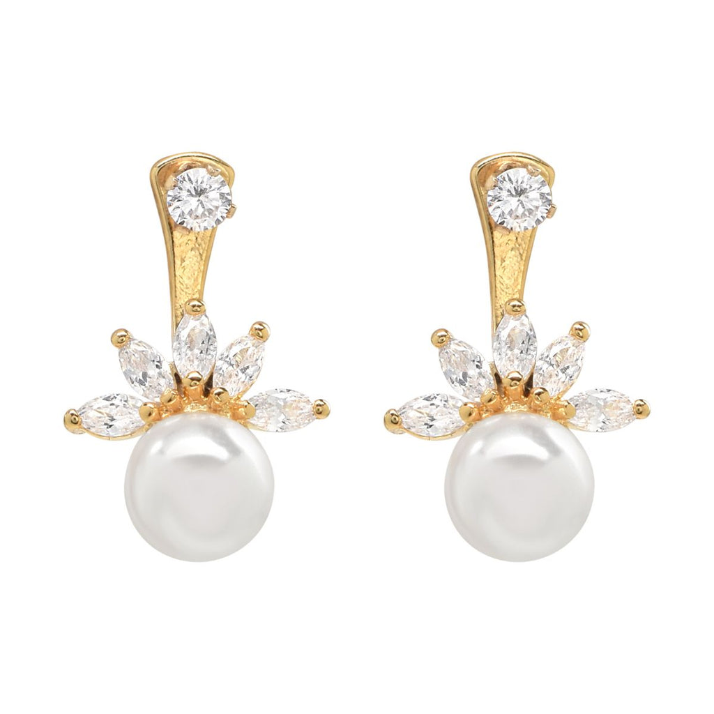 CZ/ Pearl Ear Jacket Earrings in gold.