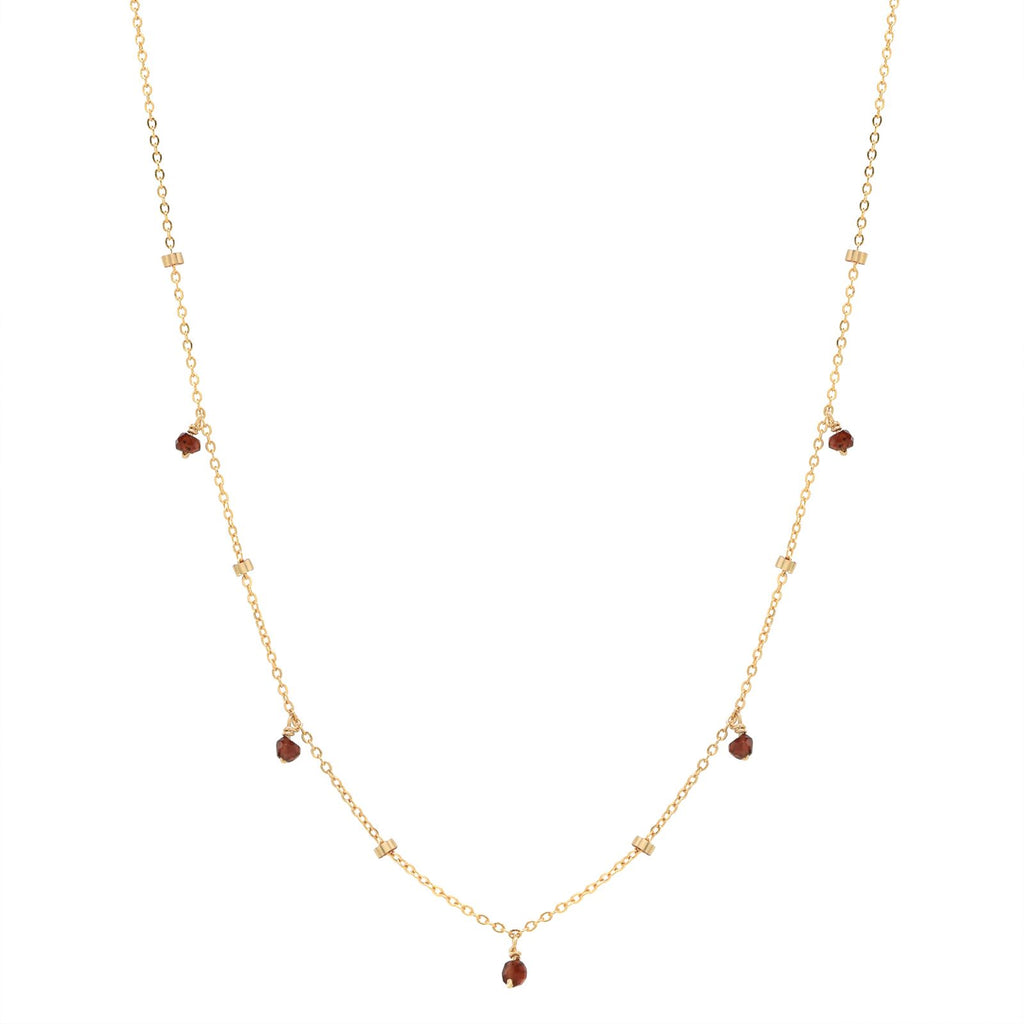 5 TINY GARNET STONE DROP W/ TEXTURED NECKLACE