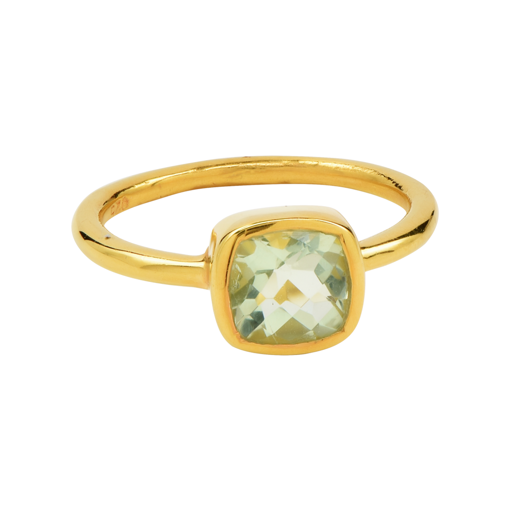 SALE - Mini Green Hydro Quartz Cushion Gold Bezel Ring