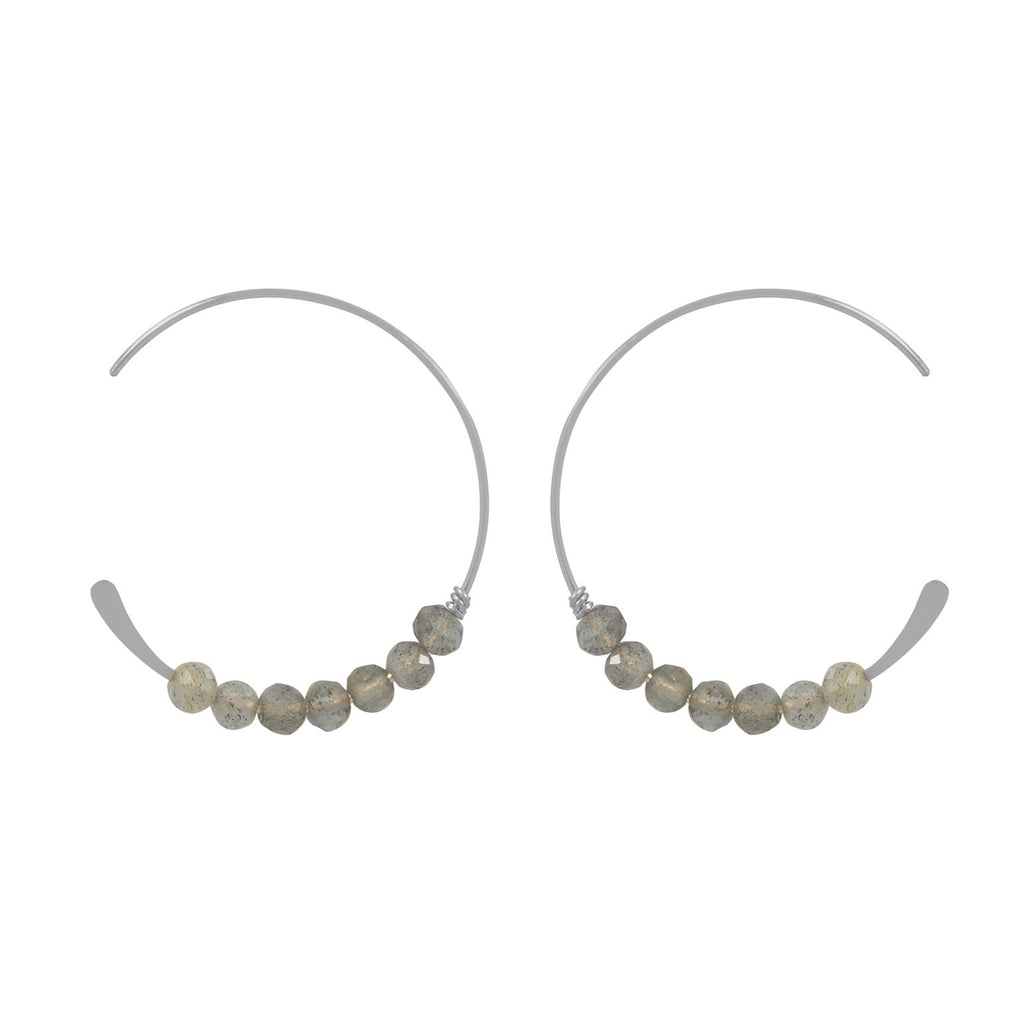 SALE - 26mm Grey Labradorite Stone Hammered End Hoops