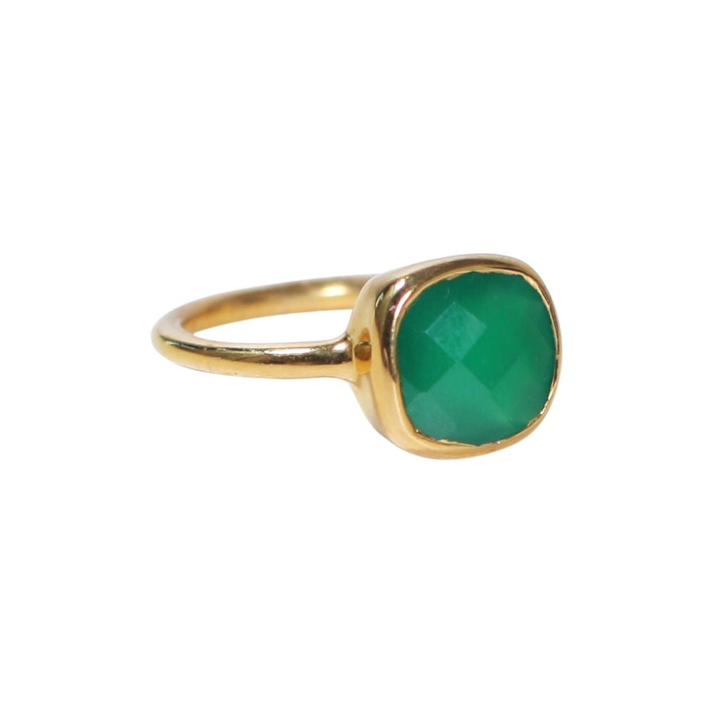 SALE - SMALL GREEN ONYX SQUARE GOLD BEZEL RING
