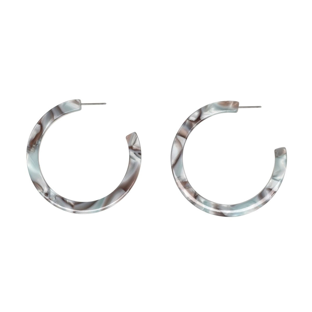 SALE - Grey Tortoise Lucite Hoops