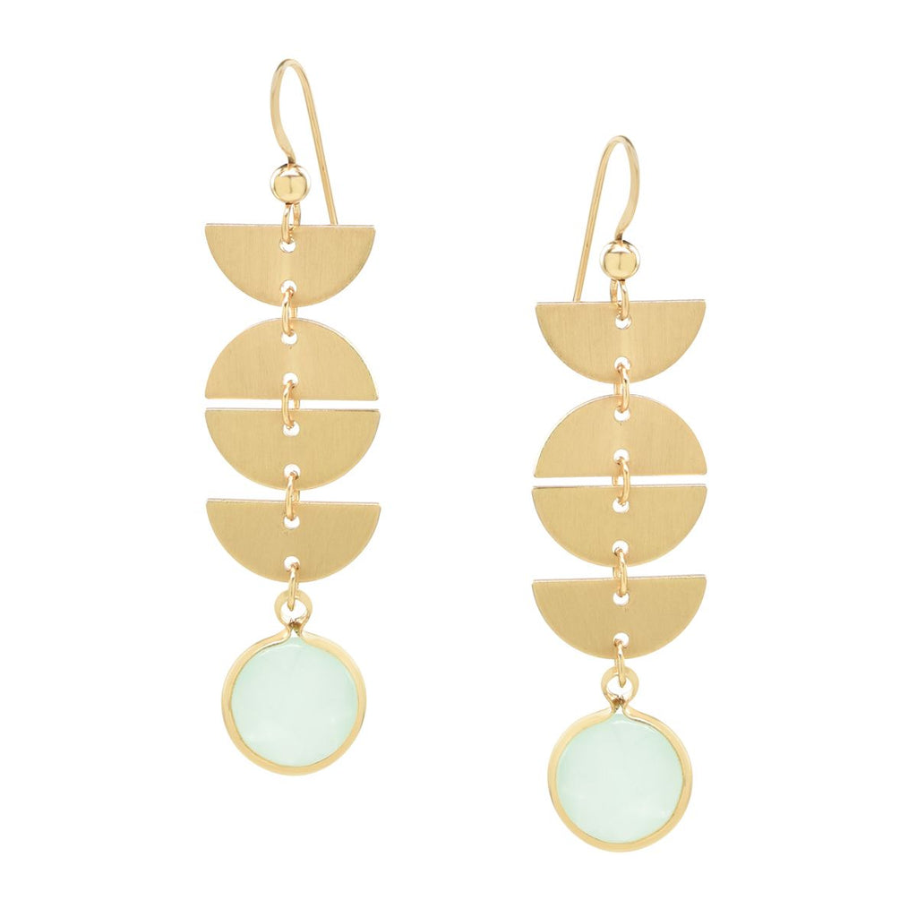 Half Moon Drop Sea Foam Chalcedony Stone Earrings