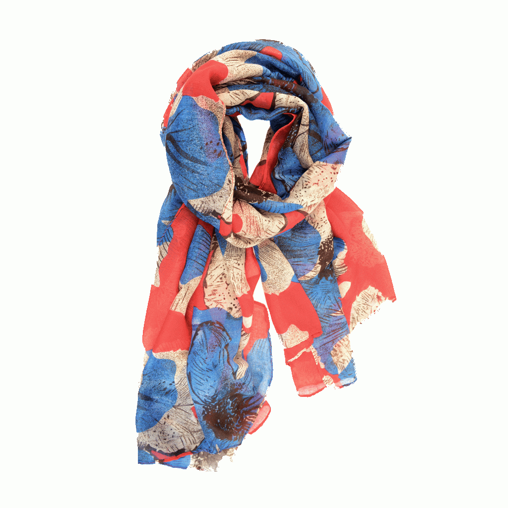 Red Royal Oversized Floral Scarf