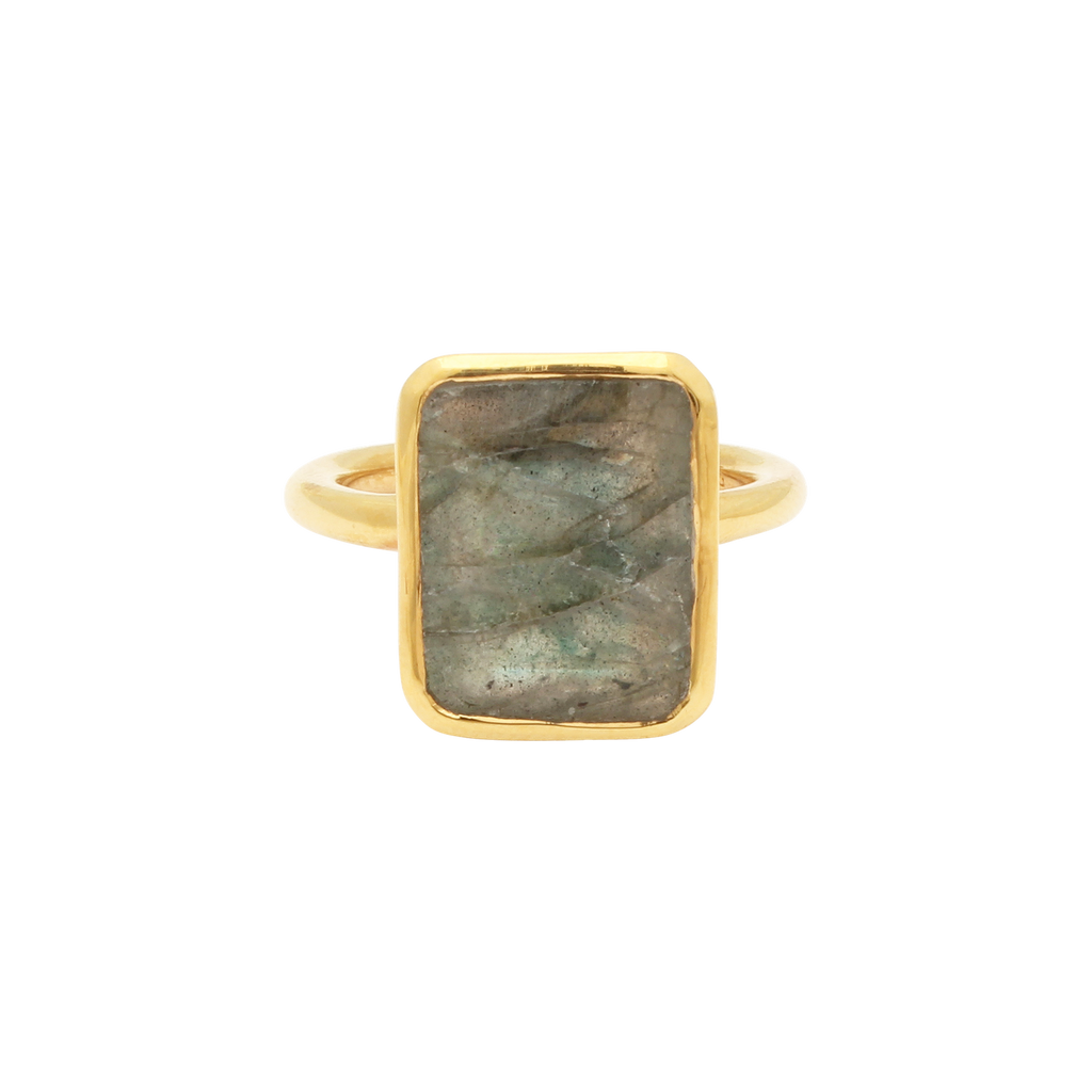 SALE - Large Labradorite Baguette Gold Bezel Ring