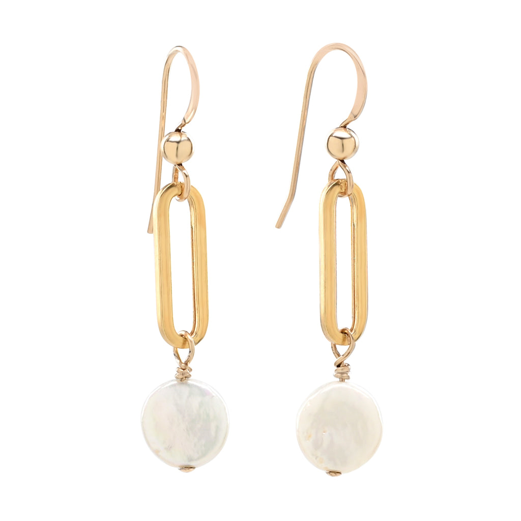 Oval Link Pearl Disc Drop Earrings