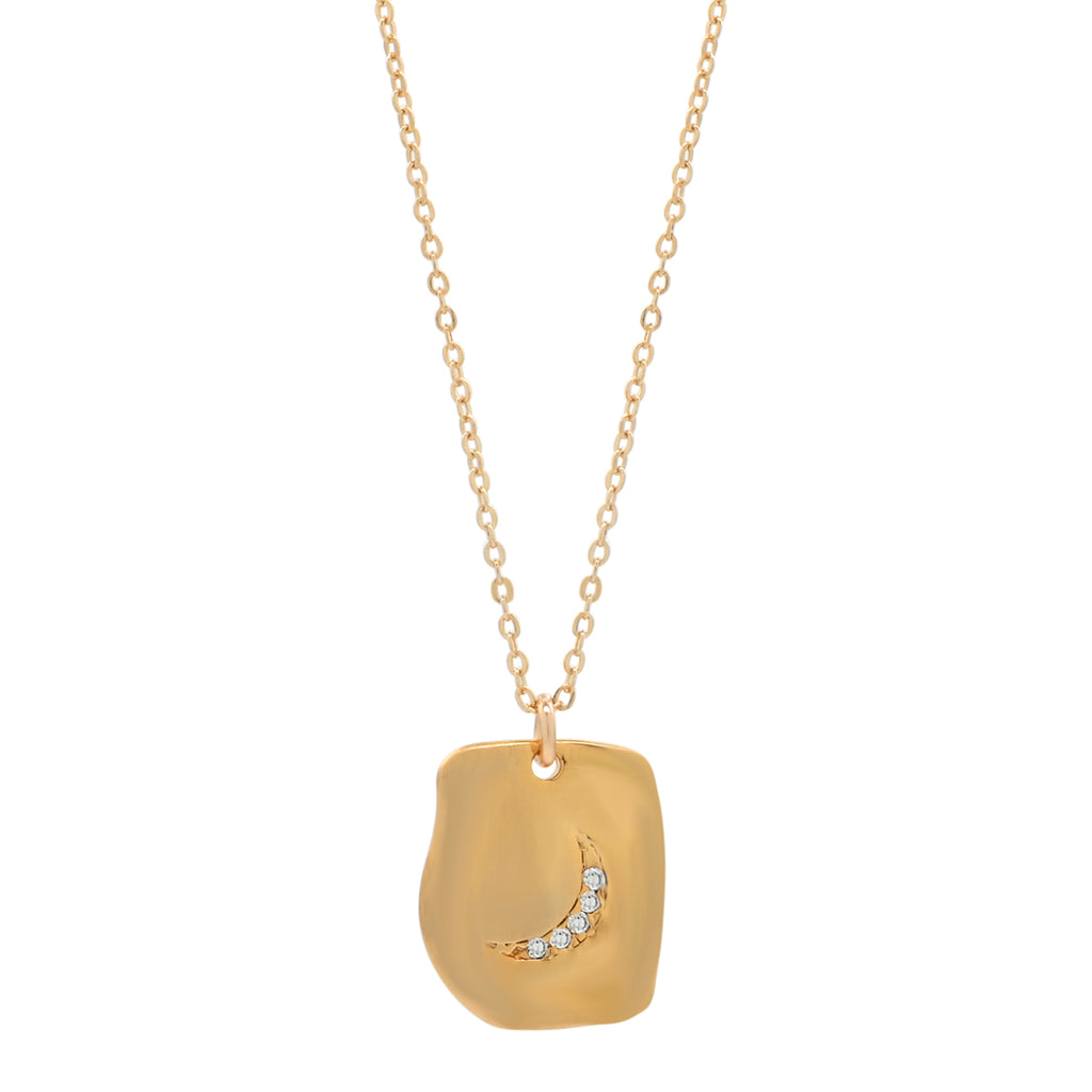 CZ Crescent Moon Square Necklace