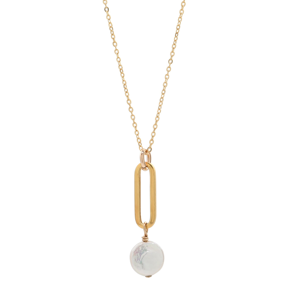 Oval Link & Pearl Disc Necklace
