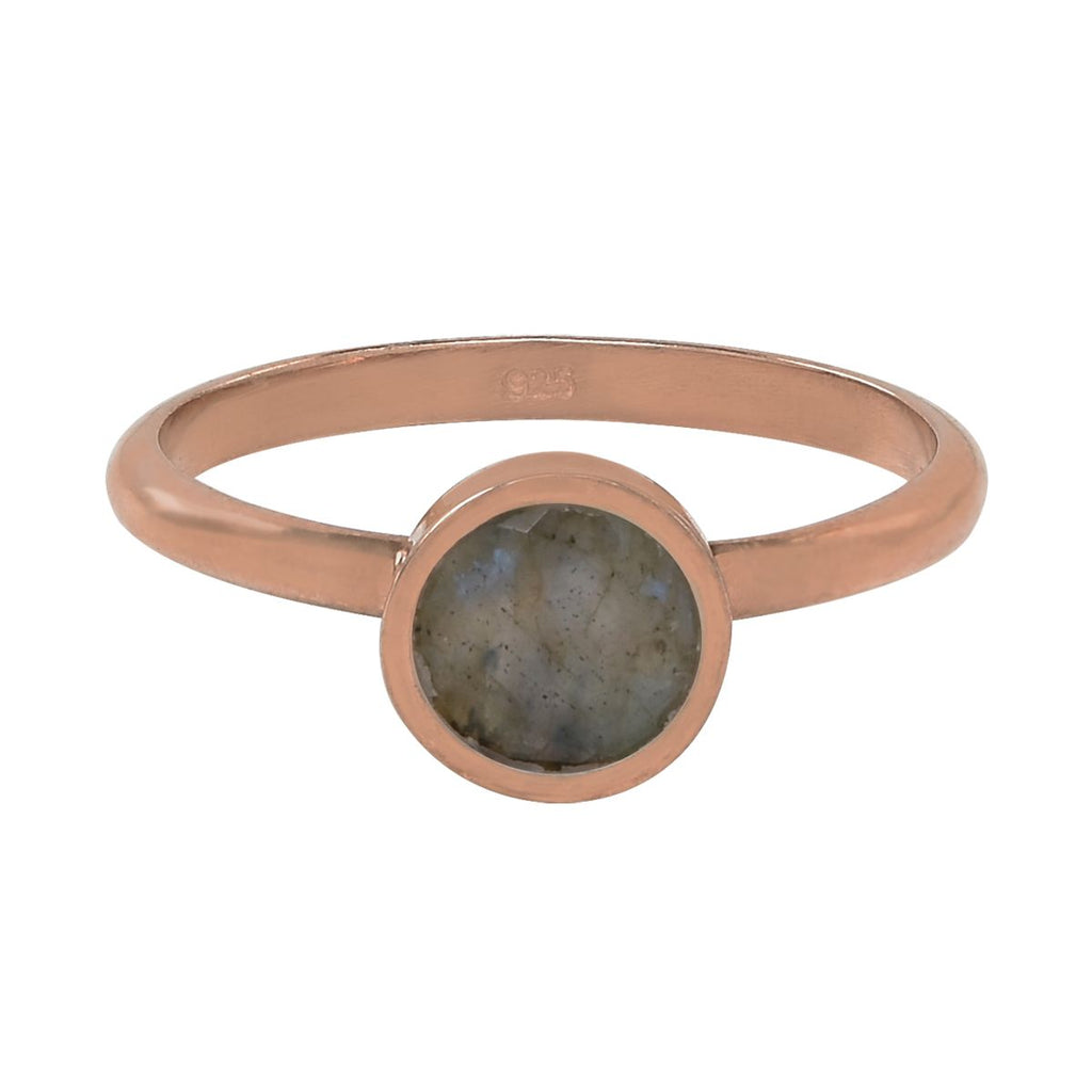 SALE - Round Labradorite Rose Gold Bezel Ring