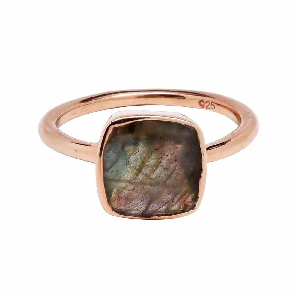 SALE - Small Labradorite Square Rose Gold Bezel Ring